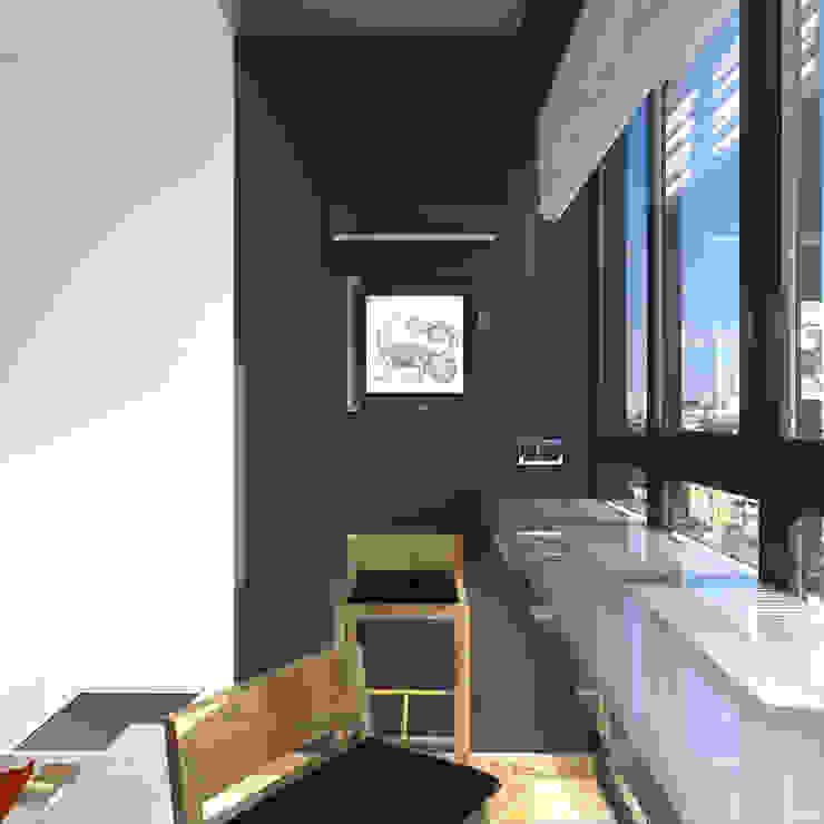 Минималистический лофт в жилом комплексе 'Ньютон. Москва, 2015 Рабочий кабинет в стиле минимализм от CHM architect Минимализм