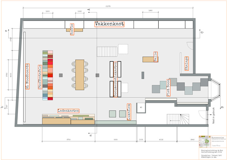 Grondplan - bovenaanzicht winkelpand van Burosannies