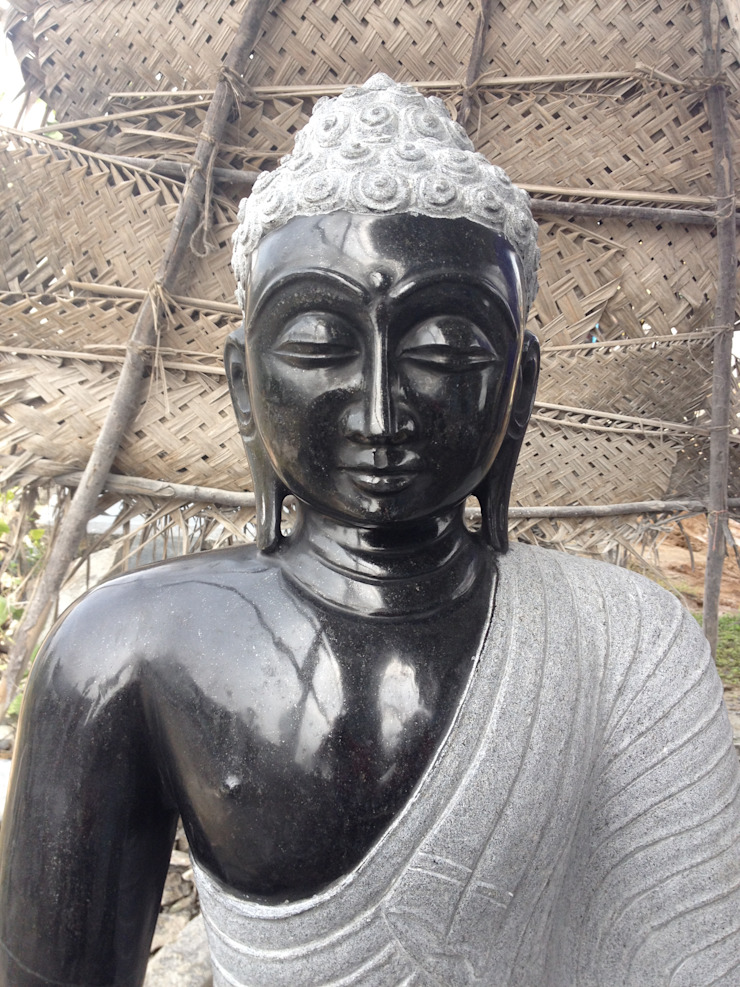 Gautama Buddha Statue in Black Stone​: asian  by LuckyBlue Exim Trader Private Limited,Asian Stone