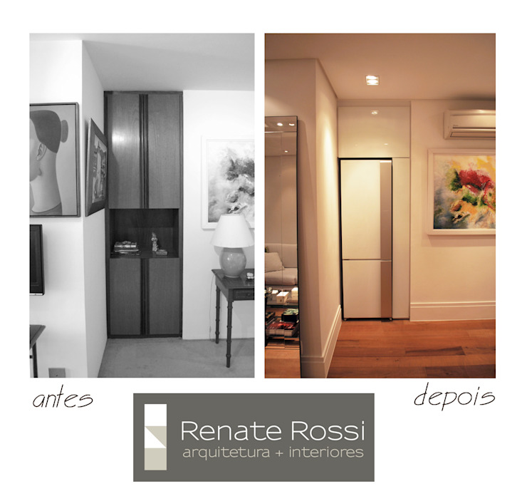 Antigo nicho de armário recebeu a nova geladeira por Renate Rossi Arquitetura + Interiores