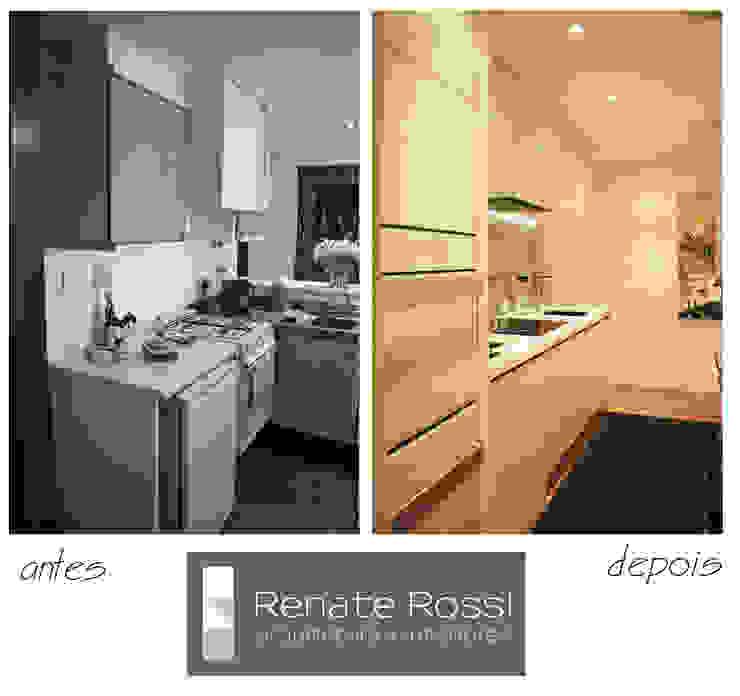 Cozinha americana com coluna de eletros por Renate Rossi Arquitetura + Interiores