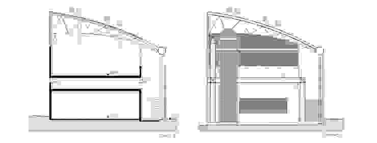 Corte e Fachada Locais de eventos modernos por Douglas Piccolo Arquitetura e Planejamento Visual LTDA. Moderno