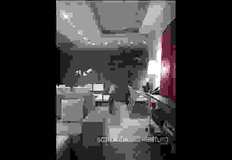 Sala de Estar e Jantar - Salas de estar modernas por architettura|Scriboni Moderno Madeira Efeito de madeira