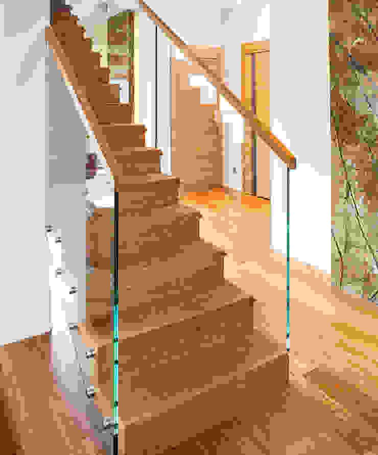 Pasillos, vestíbulos y escaleras modernos de Trąbczyński Moderno Madera Acabado en madera