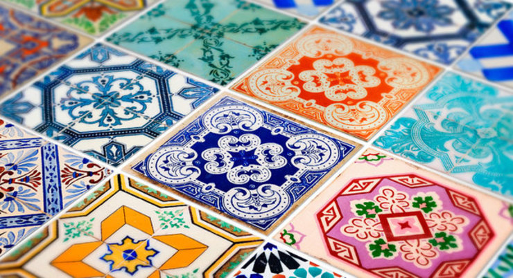 Traditional Spanish Tile Decals - Detail Image por MOONWALLSTICKERS.COM Clássico
