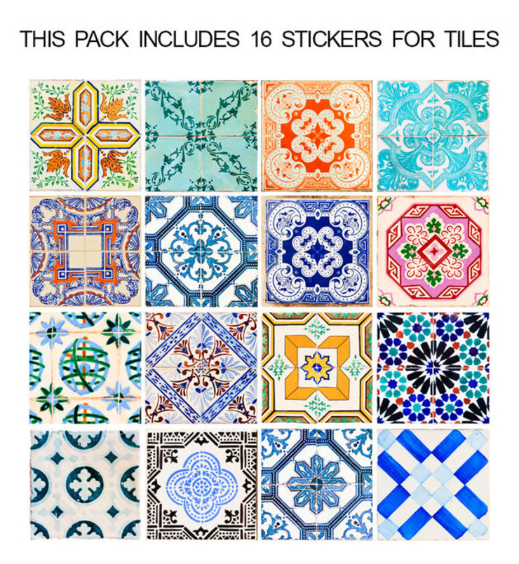 Traditional Spanish Tile Decals - Pack por MOONWALLSTICKERS.COM Clássico