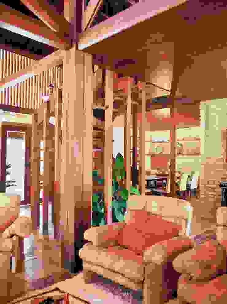 Casa Família Tenório Salas de estar rústicas por Traço Planejamento e Arquitetura Rústico