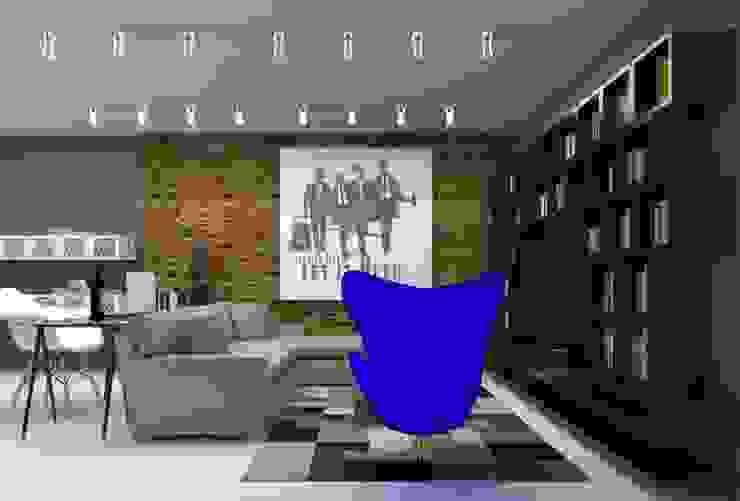 Projeto de interiores_Sala de Estar:  industrial por Cíntia Schirmer | arquiteta e urbanista,Industrial Tijolo