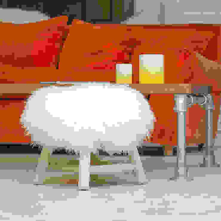 FAB design Salones de estilo ecléctico Madera maciza Blanco