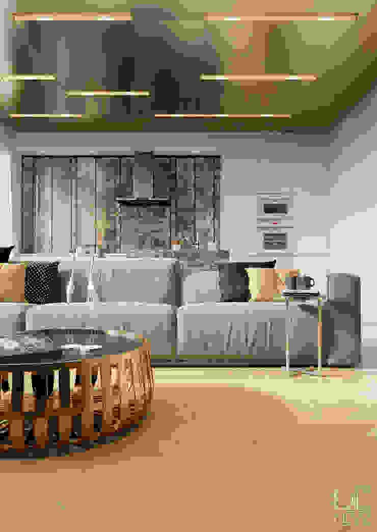 Современные апартаменты скульптора от студии DEnew Гостиная в стиле минимализм от DEnew Минимализм