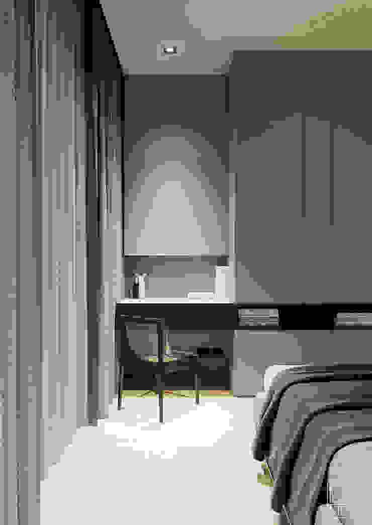Современные апартаменты скульптора от студии DEnew Спальня в стиле минимализм от DEnew Минимализм