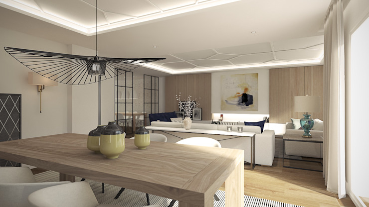 Sala da pranzo moderna di Disak Studio Moderno Legno Effetto legno