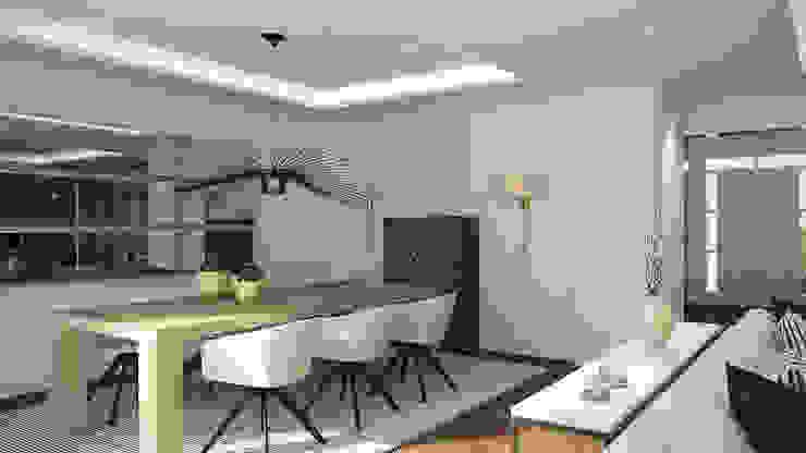 Salas de jantar modernas por Disak Studio Moderno Madeira Acabamento em madeira