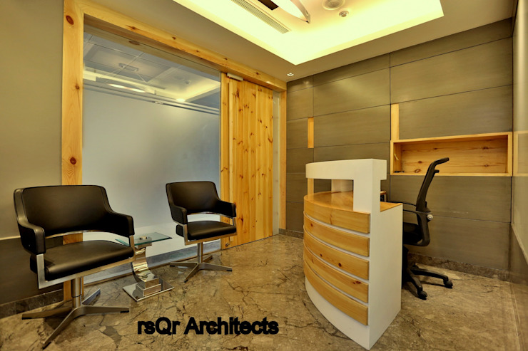 Lares & Penates Office Fitout Gurgaon by RsQr Architects Modern office buildings by rsQr Architects Modern