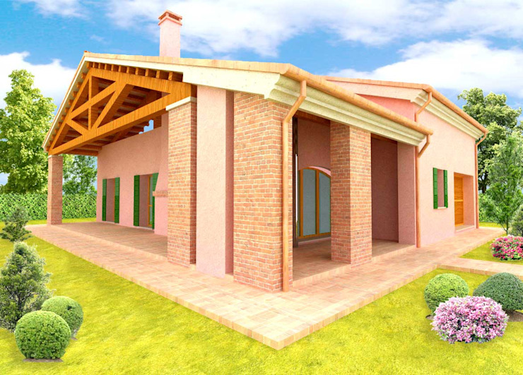 Country style houses by architettiFAVARO Country Bricks