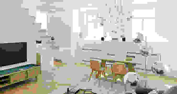 ZR-architects Comedores de estilo escandinavo Blanco