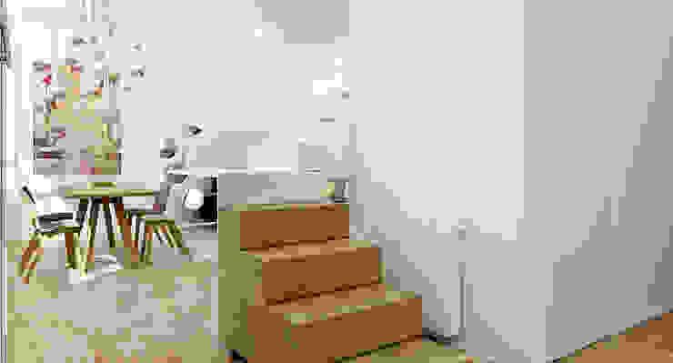 ZR-architects Pasillos, vestíbulos y escaleras de estilo escandinavo Hierro/Acero Blanco