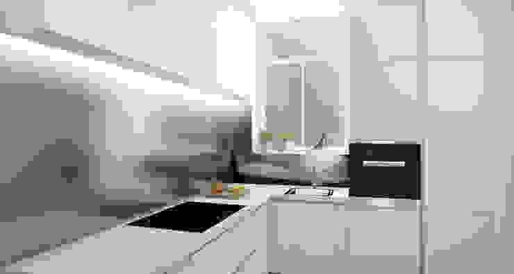 ZR-architects Cocinas de estilo escandinavo Blanco