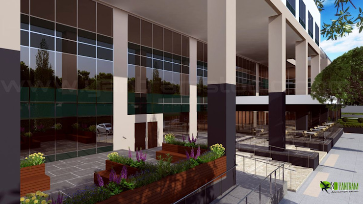 3D Spacious Building Exterior Design: modern  by Yantram Architectural Design Studio, Modern