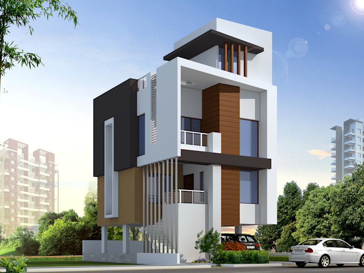 ROW HOUSE HAVING THREE BEDROOMS Spacemekk Designers p.LTD Modern houses Wood Brown