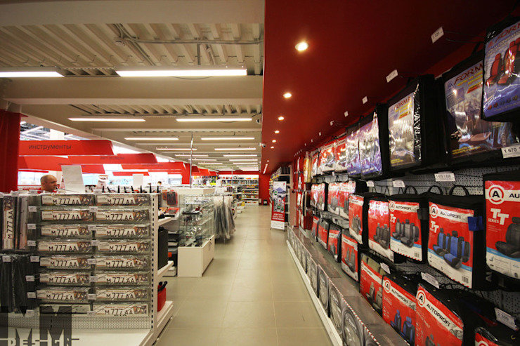 """автогипермаркет """"Автовсячина"""" Офисы и магазины в стиле минимализм от ММ-design Минимализм"""