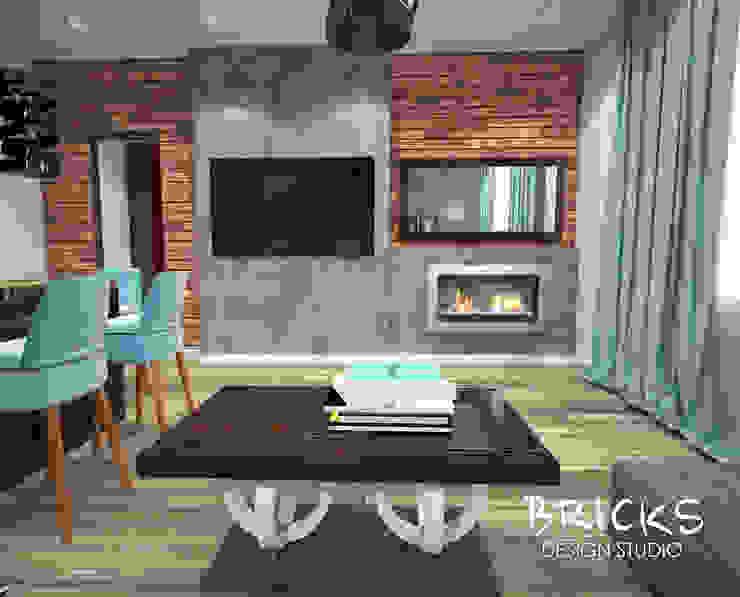 Легкость лофта Гостиная в стиле лофт от Bricks Design Лофт