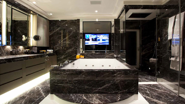 homify Modern bathroom Marble Black
