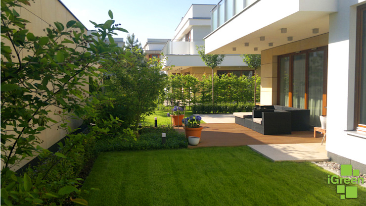 Główne wnętrze ogrodu. od IGREEN Architektura Krajobrazu i Miejskie Formy