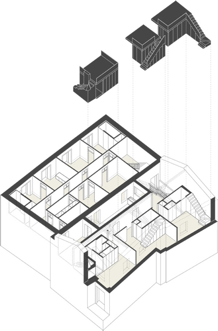 AXONOMETRIA EXPLODIDA Hotéis minimalistas por COLECTIVO arquitectos Minimalista
