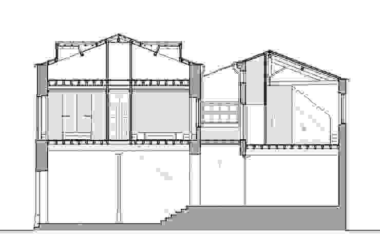 CORTE TRANSVERSAL Hotéis minimalistas por COLECTIVO arquitectos Minimalista