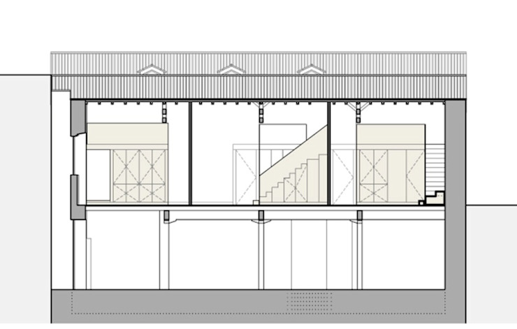 CORTE LONGITUDINAL Hotéis minimalistas por COLECTIVO arquitectos Minimalista