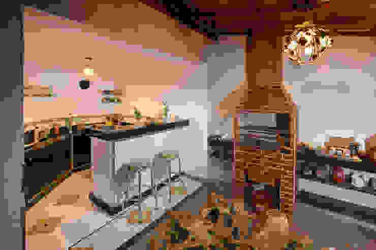 Área Gourmet Varandas, alpendres e terraços ecléticos por Mágda Braga Interiores Eclético Granito
