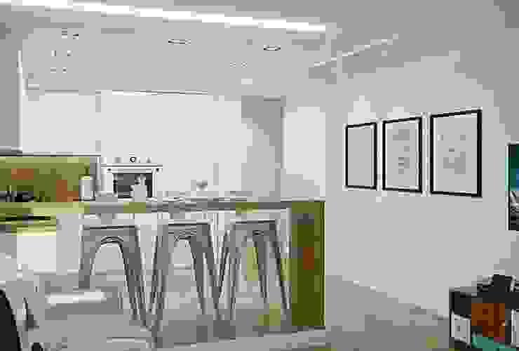 Гостиная-кухня лофт Кухня в стиле лофт от MEL design Лофт