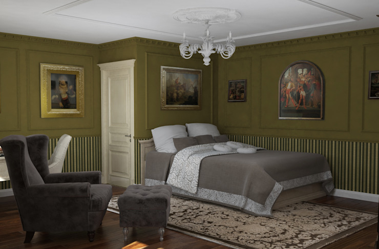 Классический стиль в однокомнатной квартире Спальня в классическом стиле от MEL design Классический