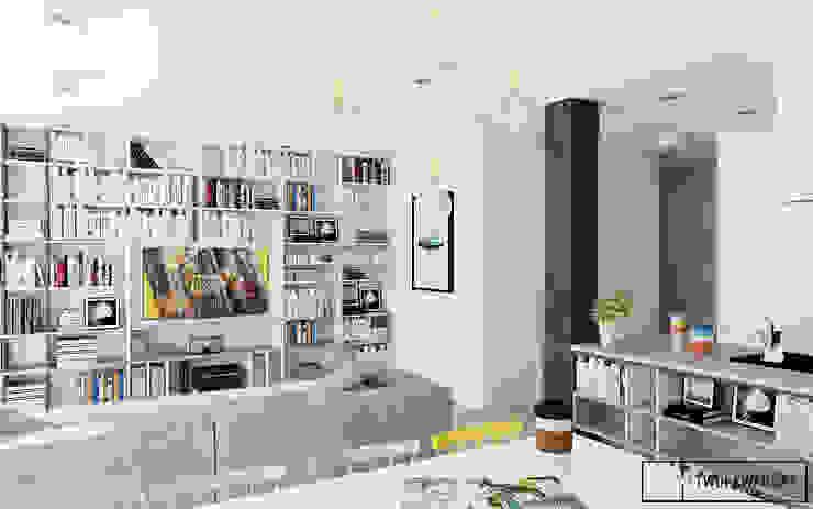Mieszkanie na warszawskiej Pradze Nowoczesny salon od Twój Kwadrat Nowoczesny