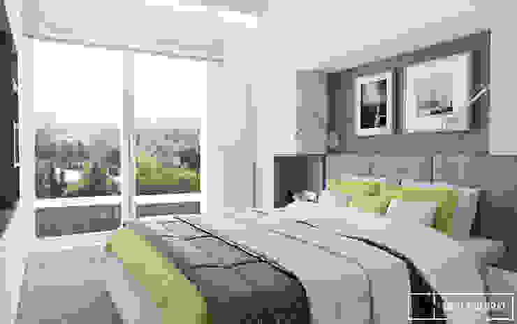 Mieszkanie na warszawskiej Pradze Nowoczesna sypialnia od Twój Kwadrat Nowoczesny
