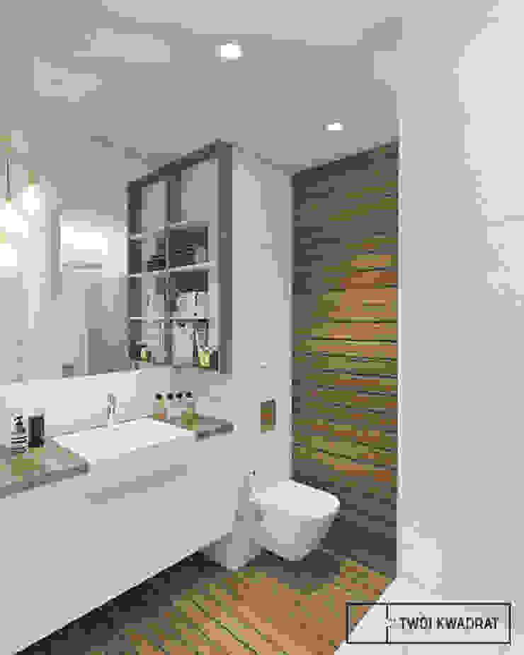Mieszkanie na warszawskiej Pradze Nowoczesna łazienka od Twój Kwadrat Nowoczesny Drewno O efekcie drewna