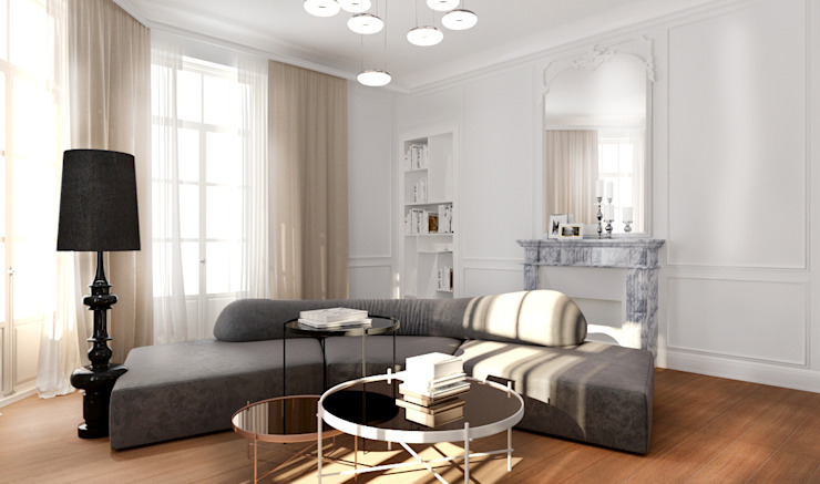 ZR-architects Salones de estilo mediterráneo Blanco