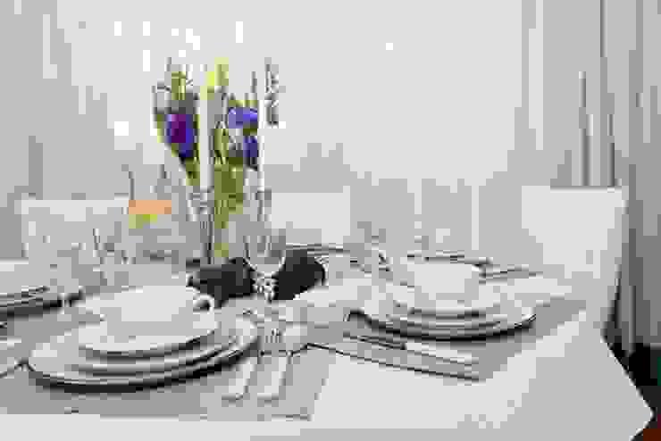 Viva Design - projektowanie wnętrz Eclectic style dining room Textile Beige