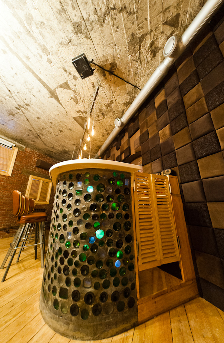 Кальян-бар ул. Ленина 40 кв.м Бары и клубы в рустикальном стиле от Дизайн студия fabrika Рустикальный