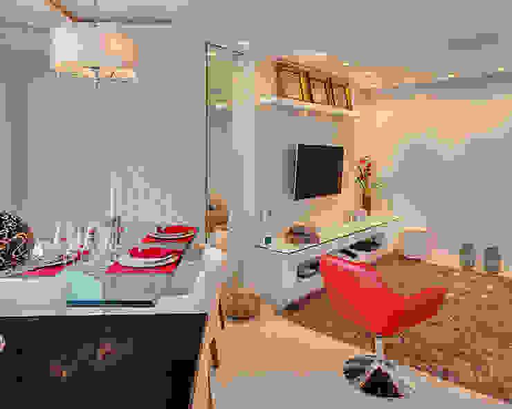 sala de estar jantar por Letícia Bowoniuk Arquitetura e Interiores Minimalista