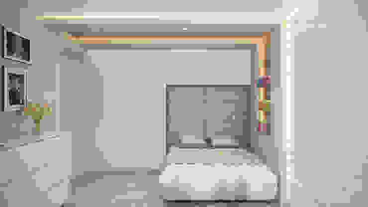 Проект 046: квартира на Борисовских прудах Гостиная в стиле минимализм от студия визуализации и дизайна интерьера '3dm2' Минимализм