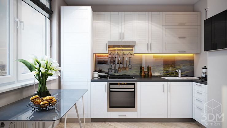 Проект 046: квартира на Борисовских прудах Кухня в стиле минимализм от студия визуализации и дизайна интерьера '3dm2' Минимализм