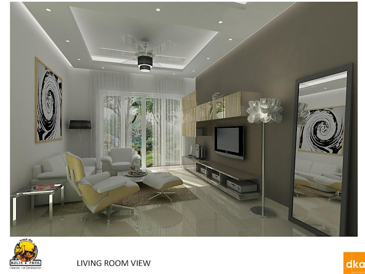 Kolte Patil Mirabillis apartment Modern living room by Dutta Kannan architects Modern