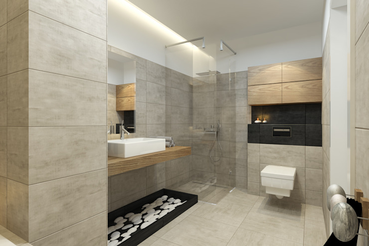 Baños modernos de Pracownia Aranżacji Wnętrz 'O-Kreślarnia' Moderno