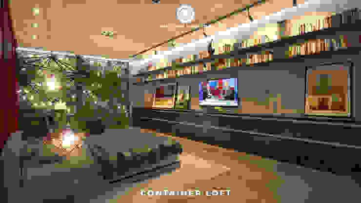 Container Loft Quartos industriais por Philippe Pinheiro Industrial Madeira Efeito de madeira