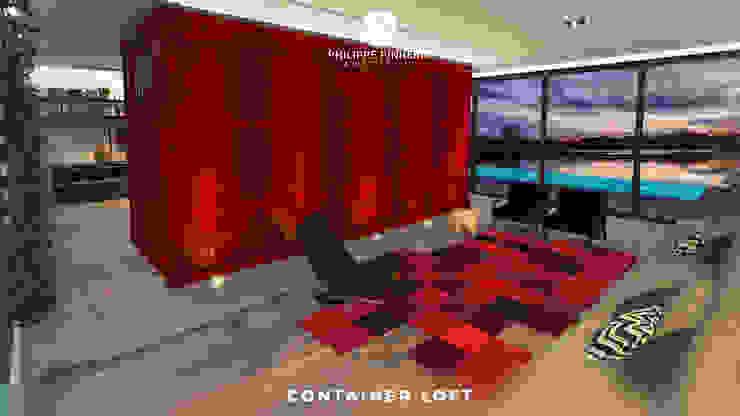 Container Loft Salas de estar industriais por Philippe Pinheiro Industrial Ferro/Aço