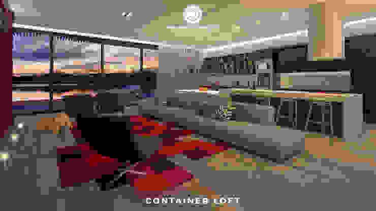 Container Loft Salas de estar industriais por Philippe Pinheiro Industrial Têxtil Ambar/dourado