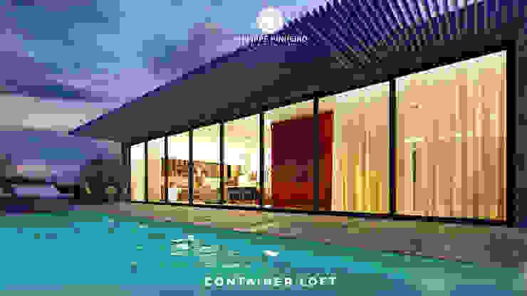 Container Loft Varandas, alpendres e terraços industriais por Philippe Pinheiro Industrial Vidro