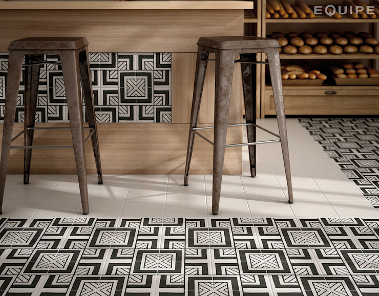 Caprice DECO Metropolitan B&W 20x20 Comedores de estilo industrial de Equipe Ceramicas Industrial
